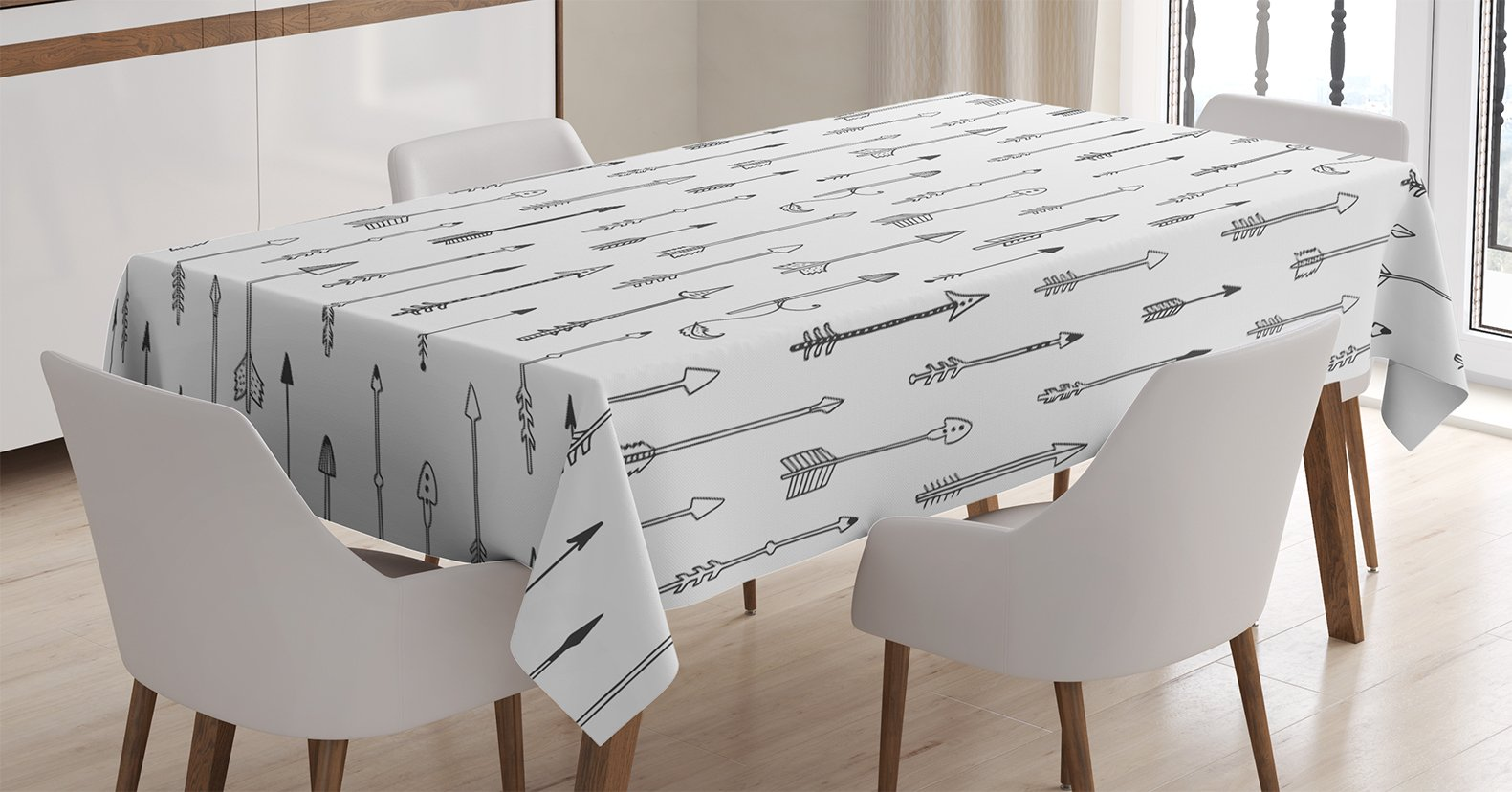 Ambesonne Arrow Tablecloth, Nostalgic Tribal Motifs Contemporary Graphic of Retro Native Arrows Culture, Dining Room Kitchen Rectangular Table Cover, 60 W X 90 L Inches, Charcoal Grey White - 60 INCHES WIDE x 90 INCHES LONG - Highly unique. Versatile. FUN. MACHINE WASHABLE - Cold cycle. Easy to clean. Durable enough for both indoor and outdoor use. MADE FROM - High quality 100% polyester woven silky satin fabric with hand-sewn finished edges - tablecloths, kitchen-dining-room-table-linens, kitchen-dining-room - 71TC RMdb1L -