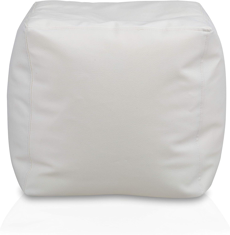 Bianco, Small Bepouf Puf Cubo Poltrona Pouf Ecopelle Pieno Poggiapiedi Sgabello Morbido 37X37cm