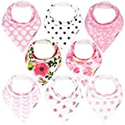 KiddyStar Bandana Bibs for Girls, 8-Pack Drool Bib Set, Organic, Adjustable, Soft, Absorbent, Stylish and Chic Prints, Newborn and Baby Shower Gift for Drooling and Teething