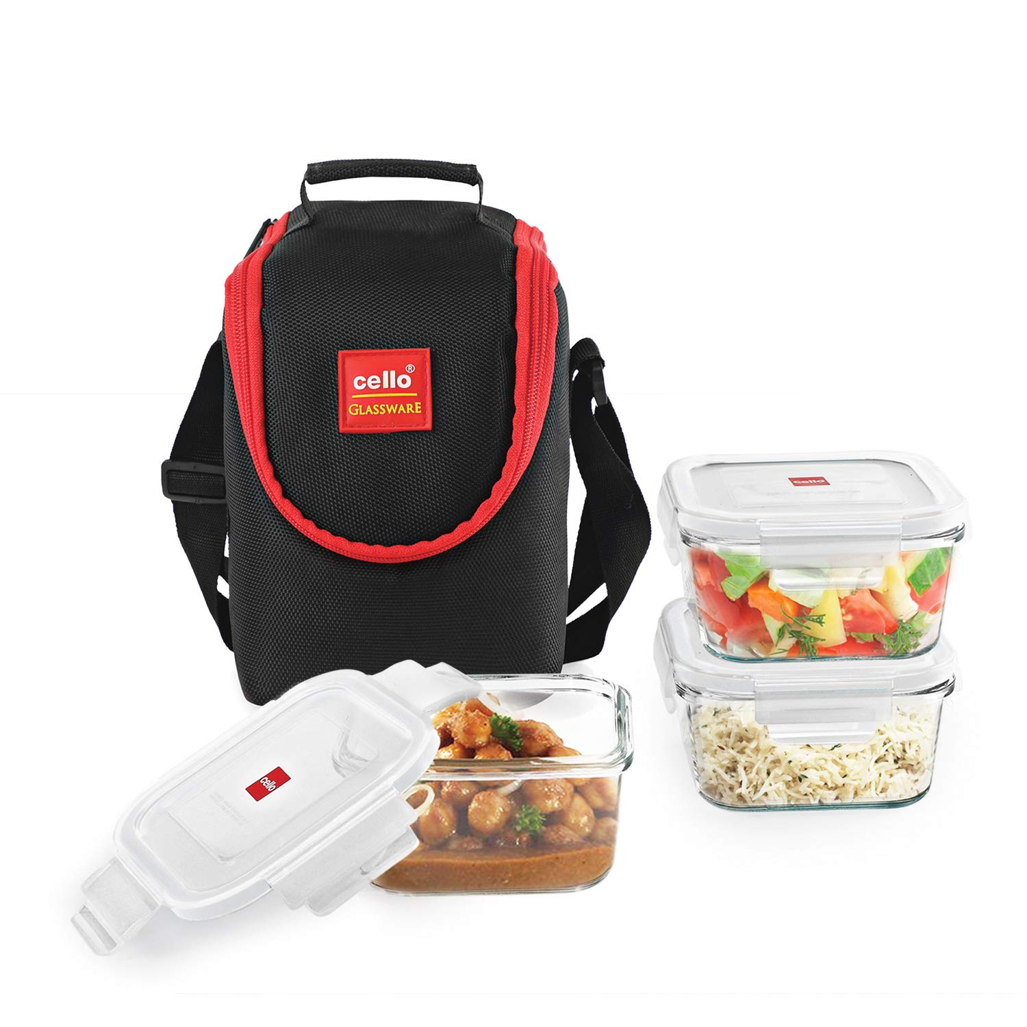Cello Seal O Fresh Glass Lunch Box, 320ml, 3-Pieces, Clear at Rs.569