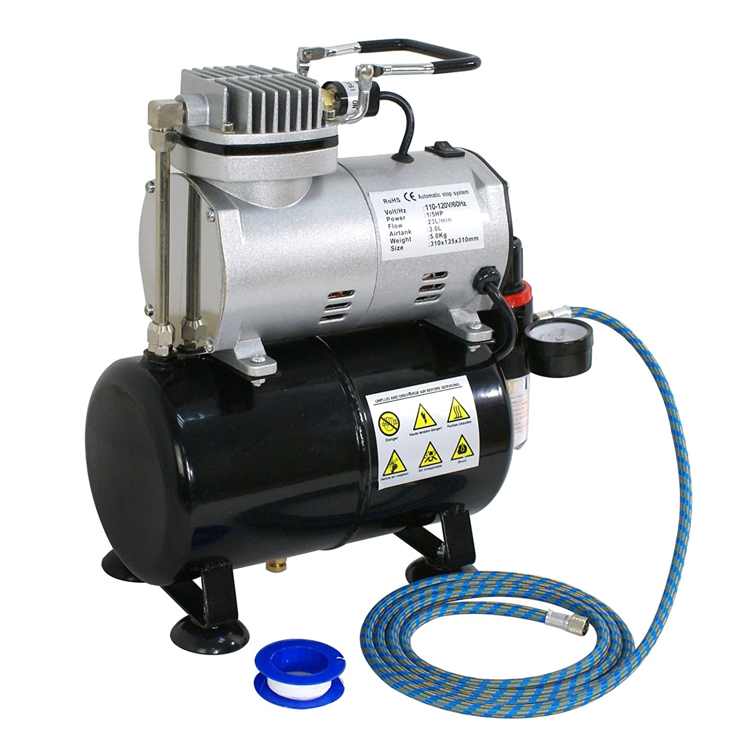 F2C TC-20BK Airbrush Multi-Purpose Pro Dual-Action 1//5HP Single Piston Quiet Air Compressor Airbrush Kit with 3 Airbrush Kits and 6FT Hose