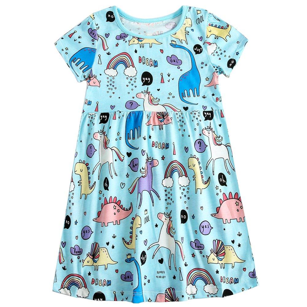 Frogwill Girls Green Dinosaur Tunic Short Sleeve Summer Casual Dress 2-7T (3T, Unicorn)