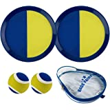 Babe Fairy Catch Ball and Toss Paddle Game Set with 2 Paddle,2 Balls and 1 Storage Bag for Kids & Adults, Outdoor or Indoor Games(Dark Blue/Yellow)
