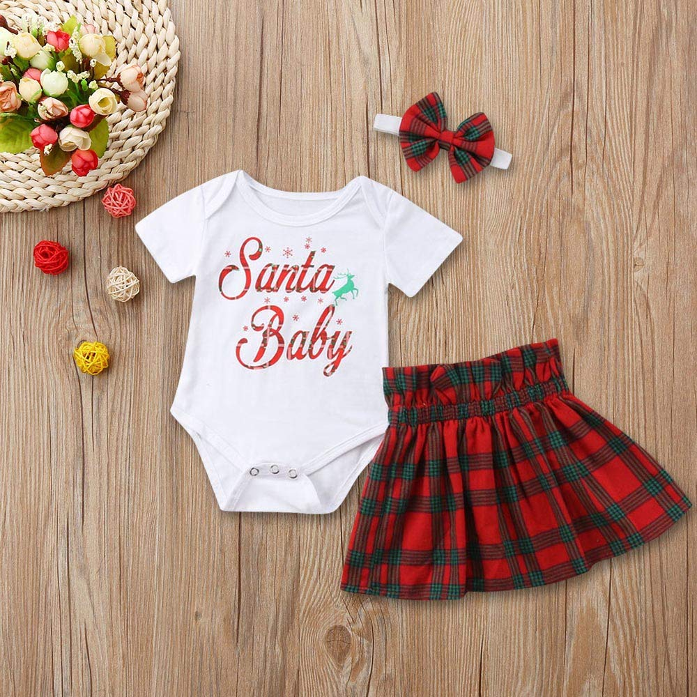 XUANOU Infant Baby Girls Letter Tops Romper+Plaid Skirts Outfits Christmas Cloth