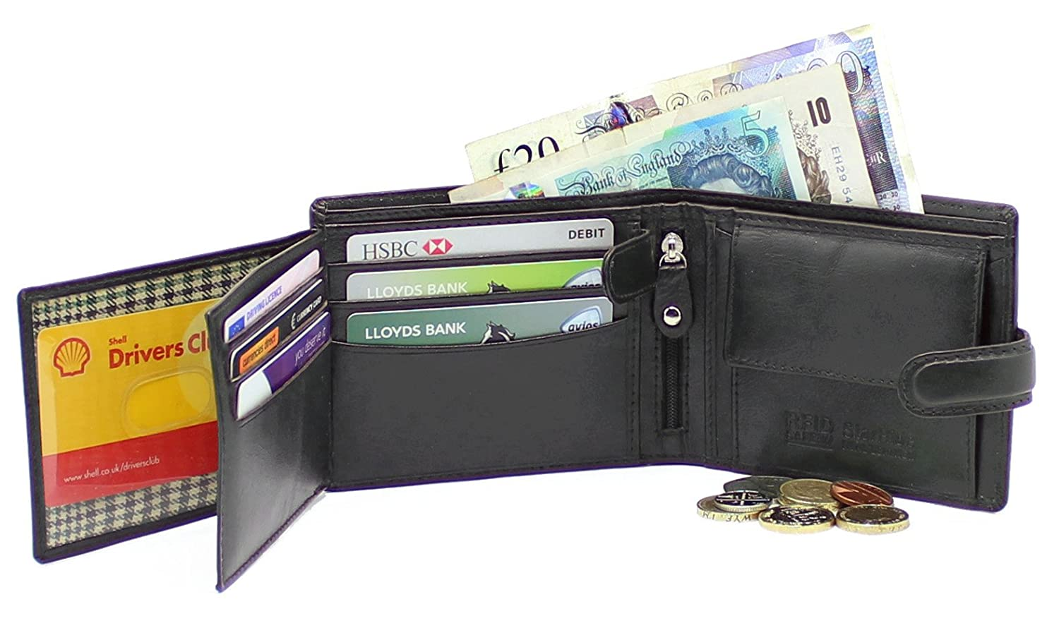c2fed59b095c Starhide RFID Blocking Real Italian VT Smooth Leather Passcase Wallet Purse  Credit Cardholder Coin Pouch Id Card Holder 1213 Black