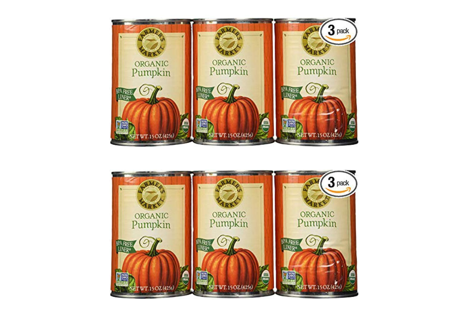 Farmers Market Pumpkin Puree 100% Organic 3 Count-15oz (2 Pack)