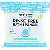 Scrubzz Disposable No Rinse Bathing Wipes - 25 Pack - All-in-1 Single Use Shower Wipes Simply Dampen Lather and Dry…