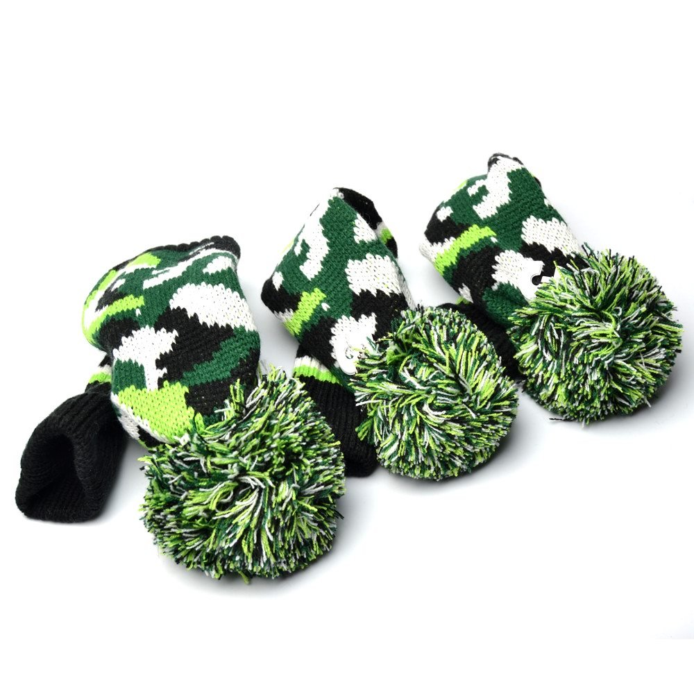 GOOACTION Drivers, Fairway Woods, Hybrids 3pcs American Flag Pom Pom Sock Set Vintange Knit Universal Golf Head Covers Fit for All Golf Brands (L-Dark Green) by GOOACTION