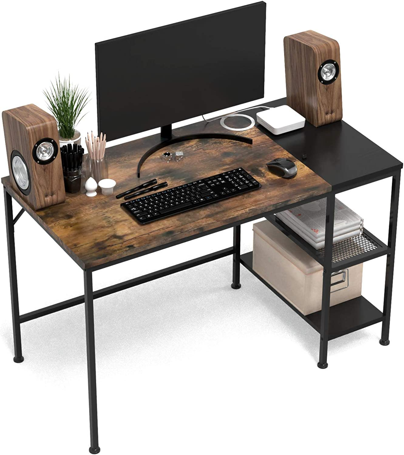 HOMIDEC Writing Computer Desk with Storage Shelves, Office Work Desk for Small Spaces, Writing Study, Industry Modern Table for Bedroom, Home, Office(47.2x23.6x29.5 inch)