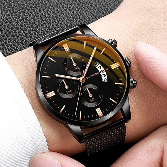 Amazon.com: XBKPLO Quartz Watches Mens Analog Wrist Watch Multifunction Waterproof Calendar Window Temperament Mesh Strap Business Watch Jewelry Gift: Pet ...