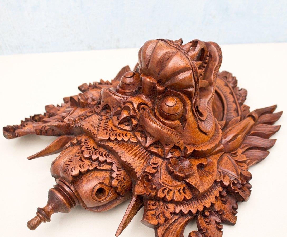 Barong Naga Mask Balinese Dragon Hand Carved Wood Bali Wooden Wall Decor Art