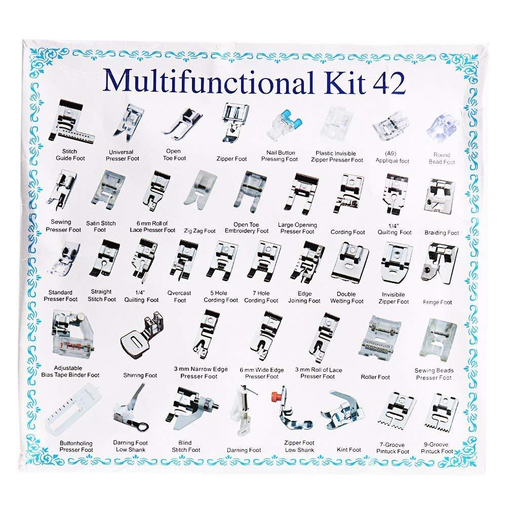 Juego de 42 piezas multifunción de pies prensatelas para máquina de coser doméstica: trenzado, zurcido, puntada ciega.: Amazon.es: Hogar