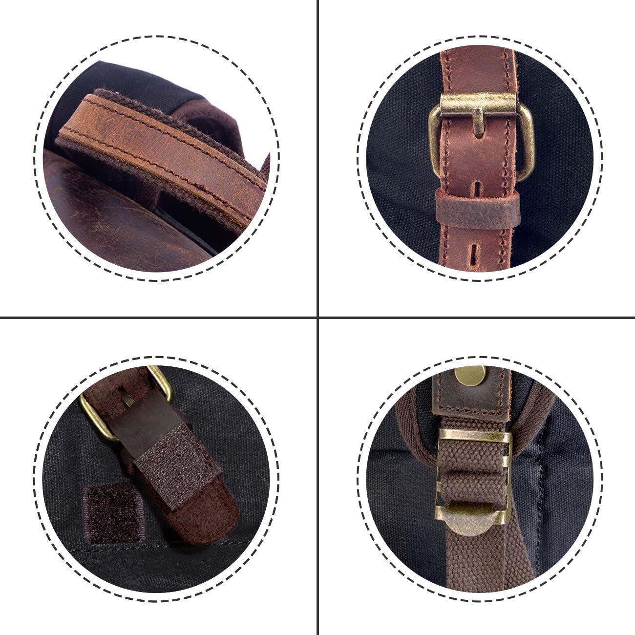 Mochila de Lona Vintage de Piel Genuina Mochila Casual Impermeable Bolsa de Escuela para Portatil de 15.6 Pulgadas Bolsa de Viaje Negro
