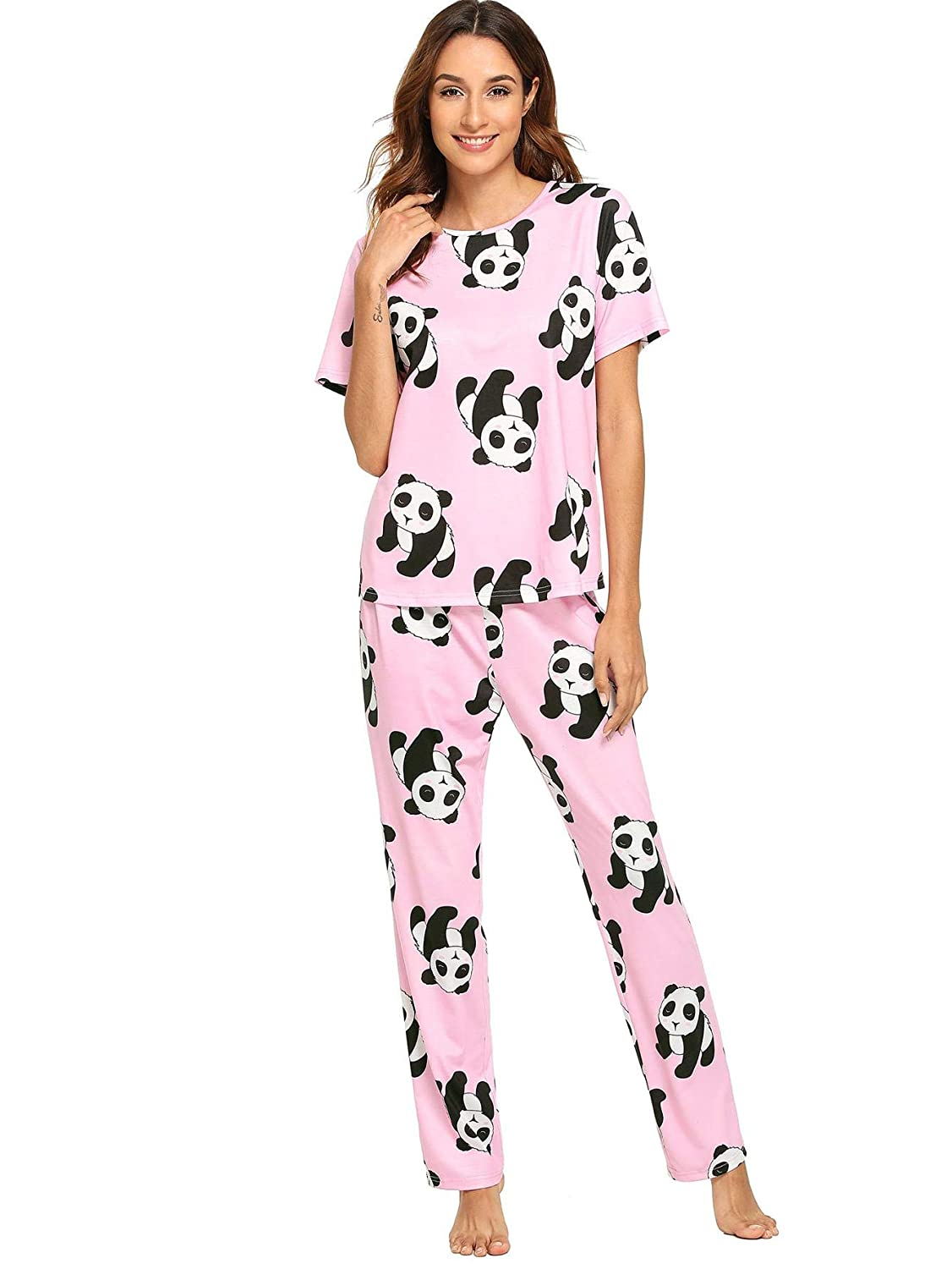 d0abb7440802 DIDK Women s Kitty Cat Print Tee and Polka Dot Pants Pajama Set at Amazon  Women s Clothing store