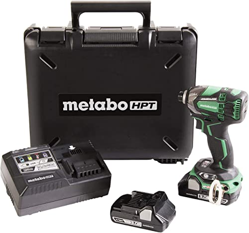 Metabo HPT 18V Cordless Impact Driver Kit, Triple Hammer Technology, Two Compact 3.0Ah Li-Ion Batteries, Powerful 1,832 in lbs Torque, Variable Speed Trigger, IP56 Compliant, LED Light WH18DBDL2