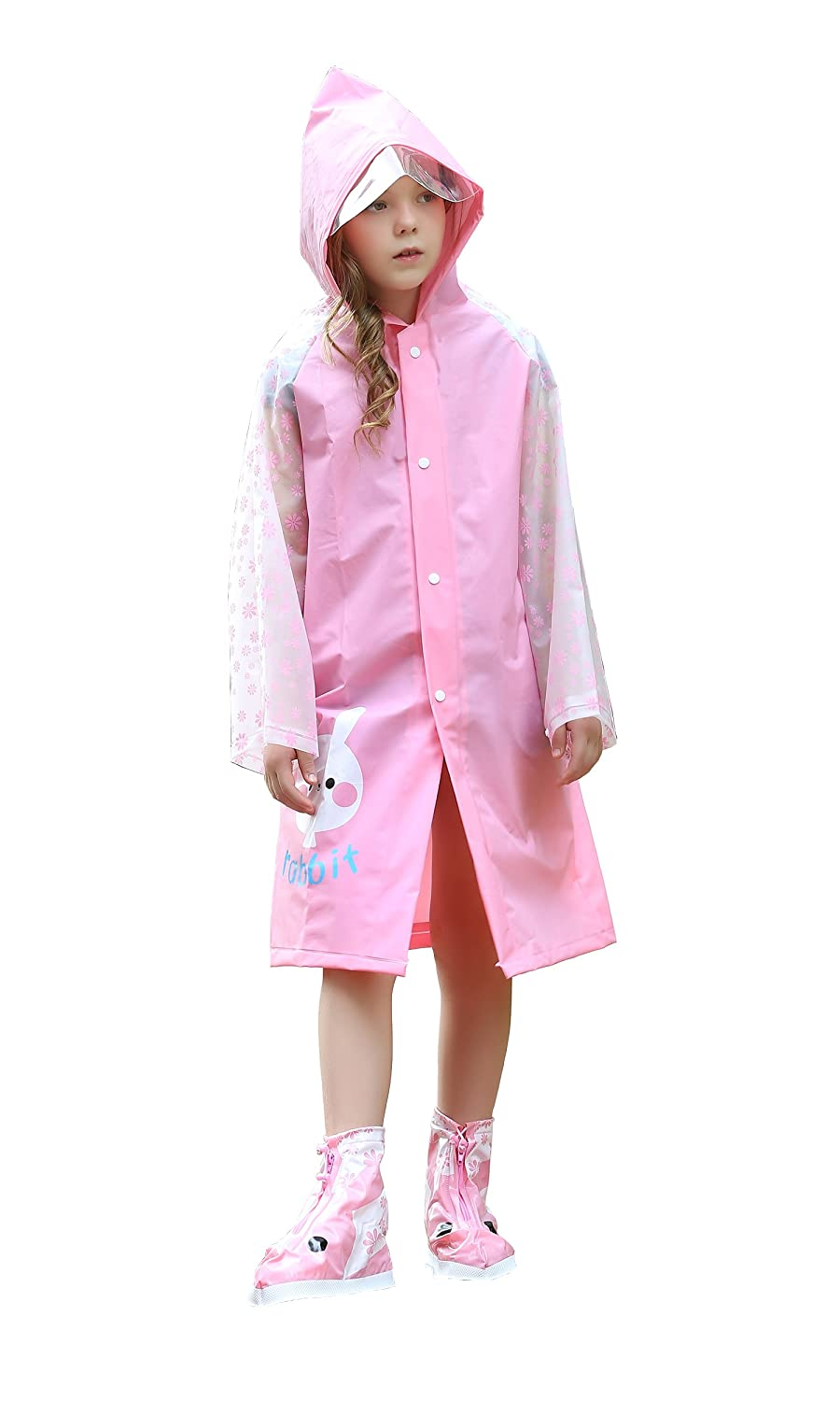Freesmily Kids Fashion Rain Poncho Raincoat with Hood and Sleeves Reusable for Ages 5 – 14 Girls Boys