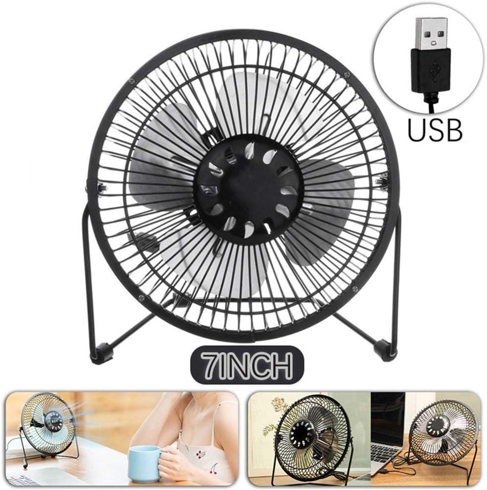Color : Black, Size : One Size USB Desk Fan Portable 7 Inch Mini USB Fan Super Mute Laptop PC Cooler Cooling Desktop Fans