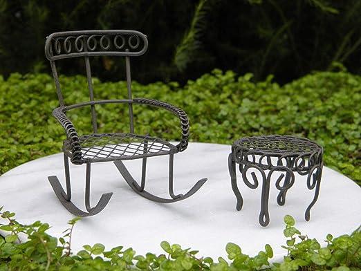 Miniature Dollhouse FAIRY GARDEN Furniture ~ Metal Pink Butterfly Bench Chair