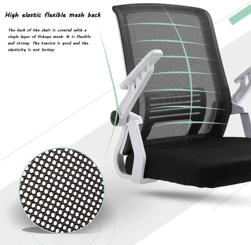 Kontorsstol, lyft justerbar verkställande stol roterande räcke ergonomi hushåll datorstol för student sovsal kontor nät ryggstöd mobilt armstöd (färg: Grön) Grått