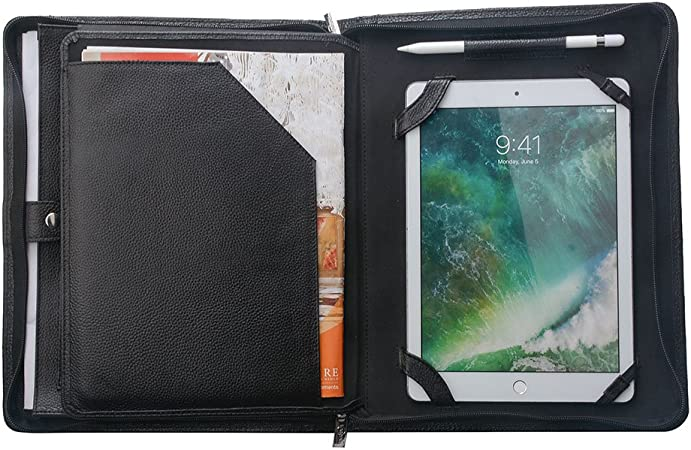 Apple iPad Briefcase 10.2 9.7 11 10.5 Padfolio Folio Leather Pu Brown Bag Zipper