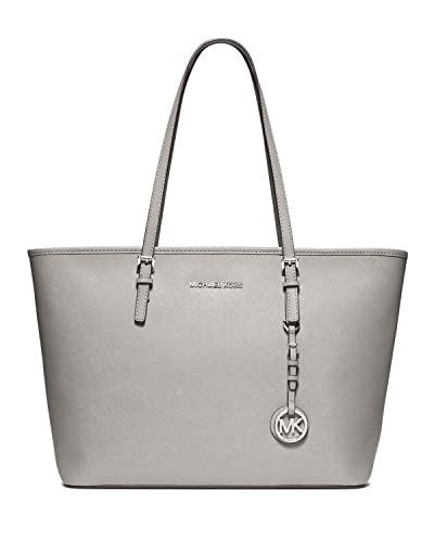Michael Kors Jet Set Travel Leather Tote (Pearl Grey)