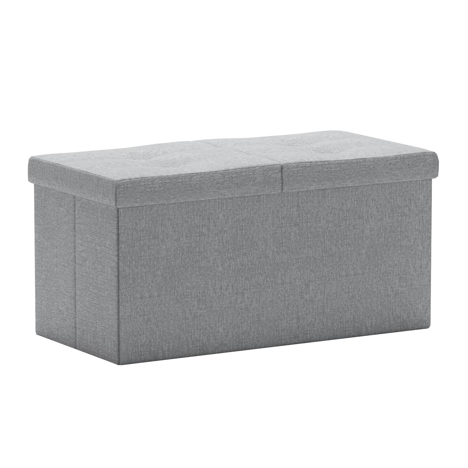 Otto & Ben 30'' Storage Ottoman - Folding Toy Box Chest with Smart Lift Top, Linen Fabric Ottomans Bench Foot Rest for Bedroom, Light Grey