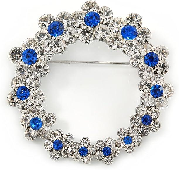 45mm Avalaya Rhodium Plated Clear//Sapphire Blue Crystal Wreath Brooch