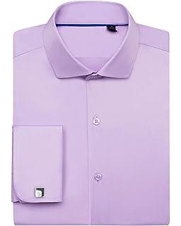 Siliteelon - Camisa de vestir para hombre con doble puño ...
