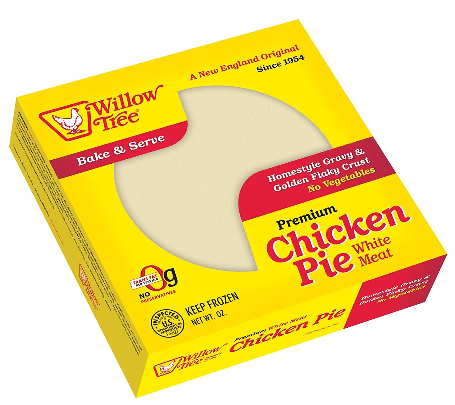 WILLOW TREE PREMIUM CHICKEN POT PIE WITH NO VEGETABLES 26 OZ PACK OF 2 pu26