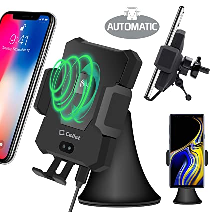 Cellet 2-in-1 Wireless Charger Phone Holder Mount with Automatic Release and Lock Cradle for Air Vent and Dashboard Compatible for iPhone Xs//Xs Max//Xr//X//8//7// Samsung Note 9//8//5 Galaxy S9//S8// 10Watt 4351568326