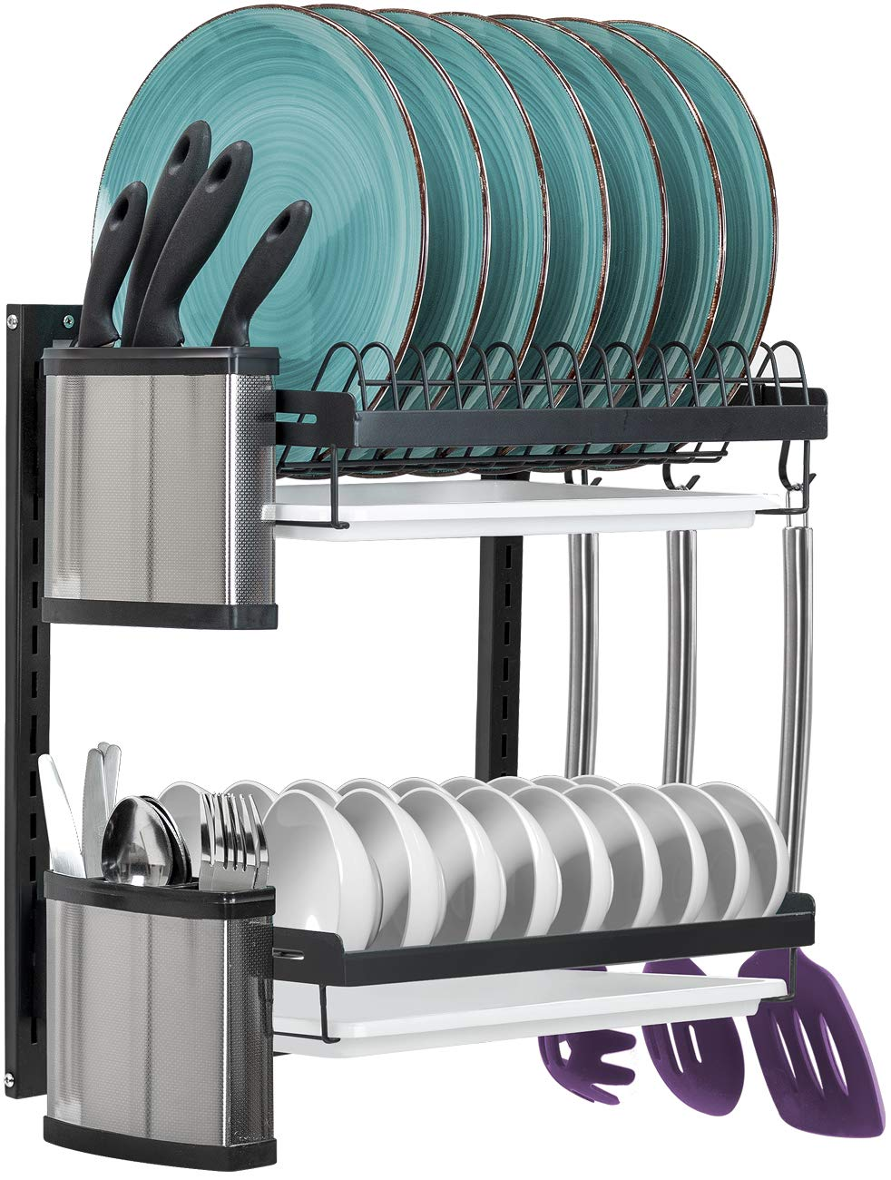 Sorbus Dish Drying Rack, 2-Tier Hanging Wall Mount Drying Plate Organizer Storage Shelf for Bowls, Utensils, Includes Drain Trays and 3 Hooks for Kitchen Sink, Metal (Black)