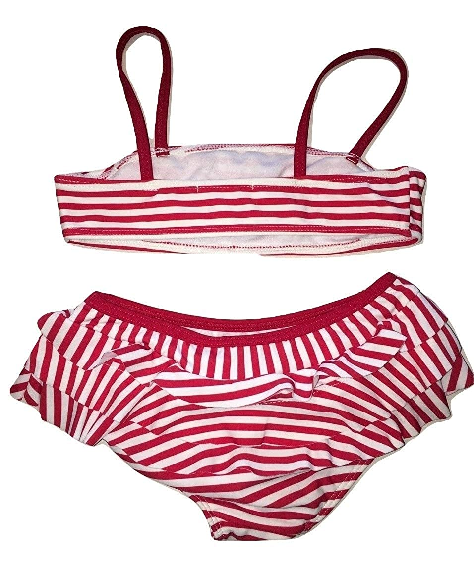 Kate Mack Girls 2-6X Regatta Stripe Bow Ruffled Bikini in Red//White