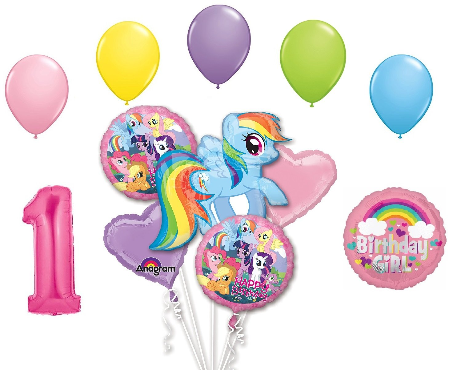 Prismatic My Little Pony Balloon Bouquet Birthday Decorations 5 pieces