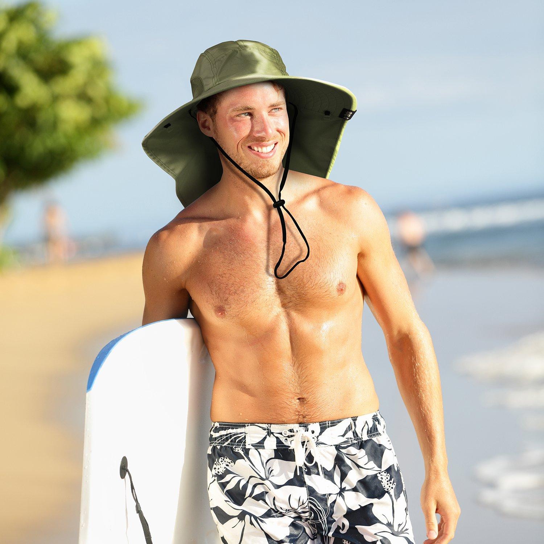 a51d5caa799 Tirrinia Mens Wide Brim Sun Hat with Neck Flap Fishing Safari Cap for  Outdoor Hiking Camping