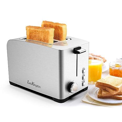 Amazon.com: LauKingdom Toasters 2 rebanadas de acero ...