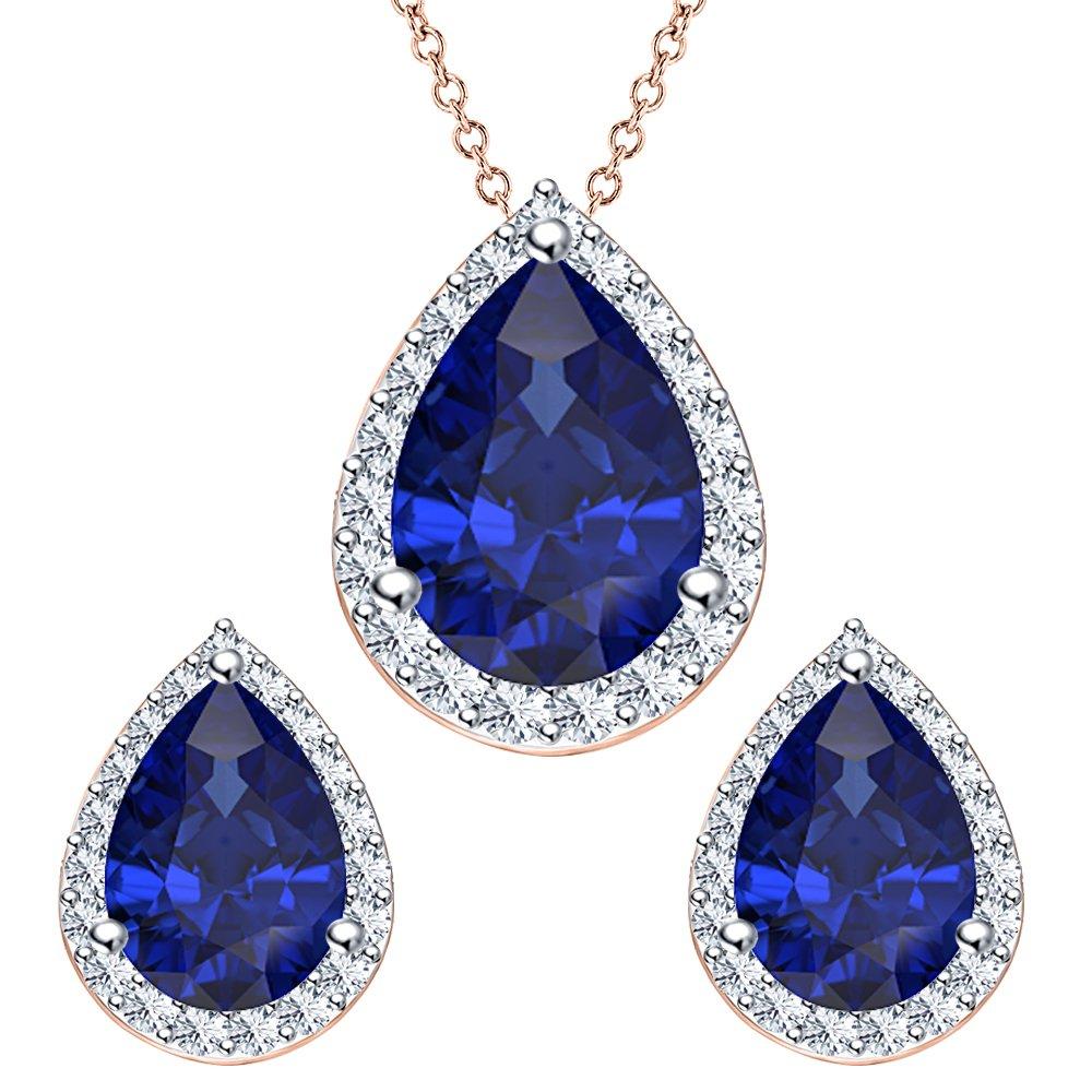 RUDRAFASHION Pear Shape Blue Sapphire /& White CZ Diamond 14k Rose Gold Plated 925 Sterling Silver Teardrop Jewelry Set Earrings Pendant Necklace