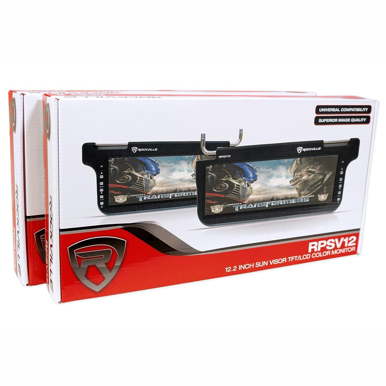 2 Rockville RPSV12-GR 12.1 Grey//Gray Car Sun Visor Monitors//High Definition!