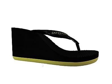 il più economico qualità stabile scarpe casual Emporio Armani Ciabatte Infradito Alte EA7 Donna XFQ004 XK008 Nero e Giallo