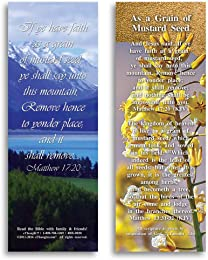 Bible Verse Cards, by eThought – Matthew 17:20 - As a Grain of Mustard Seed - Pack of 25 Bookmark Size Cards for reading, study, gifts and encouragement.