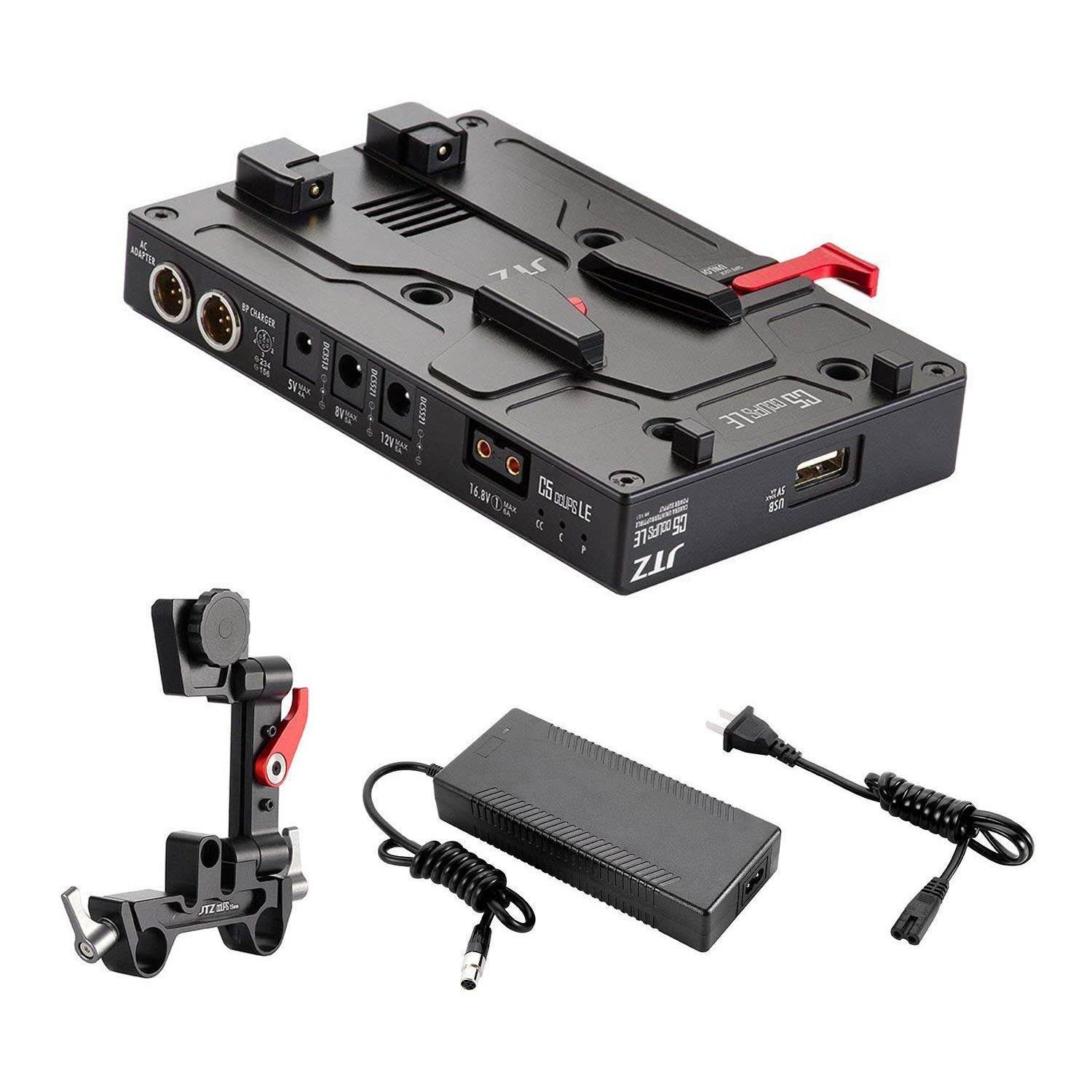 JTZ DP30 C5 LE CCUPS V-Mount Uninterrupted Power Supply BP Battery Plate with 15mm/19mm Rail Rod Clamp for Canon 7D 5D Sony A7 A7R A7S II III Panasonic GH3 GH4 GH5 Blackmagic BMPCC 4K Monitor D-Tap by Run Shuangyu