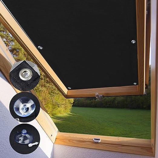 Kinlo Store Pour Fenêtre De Toit Velux S06 Et 606 96 X 93 Cm Noir Velux Rideau Occultant Complète Avec Ventouses Sans Perçage Protection Solaire Au