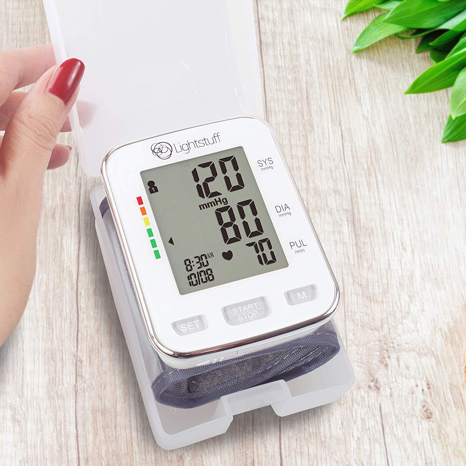 Lightstuff Easy Digital Blood Pressure Monitor FDA-Approved, Portable Wrist-Cuff for Dependable, Painless BP Monitoring at Home