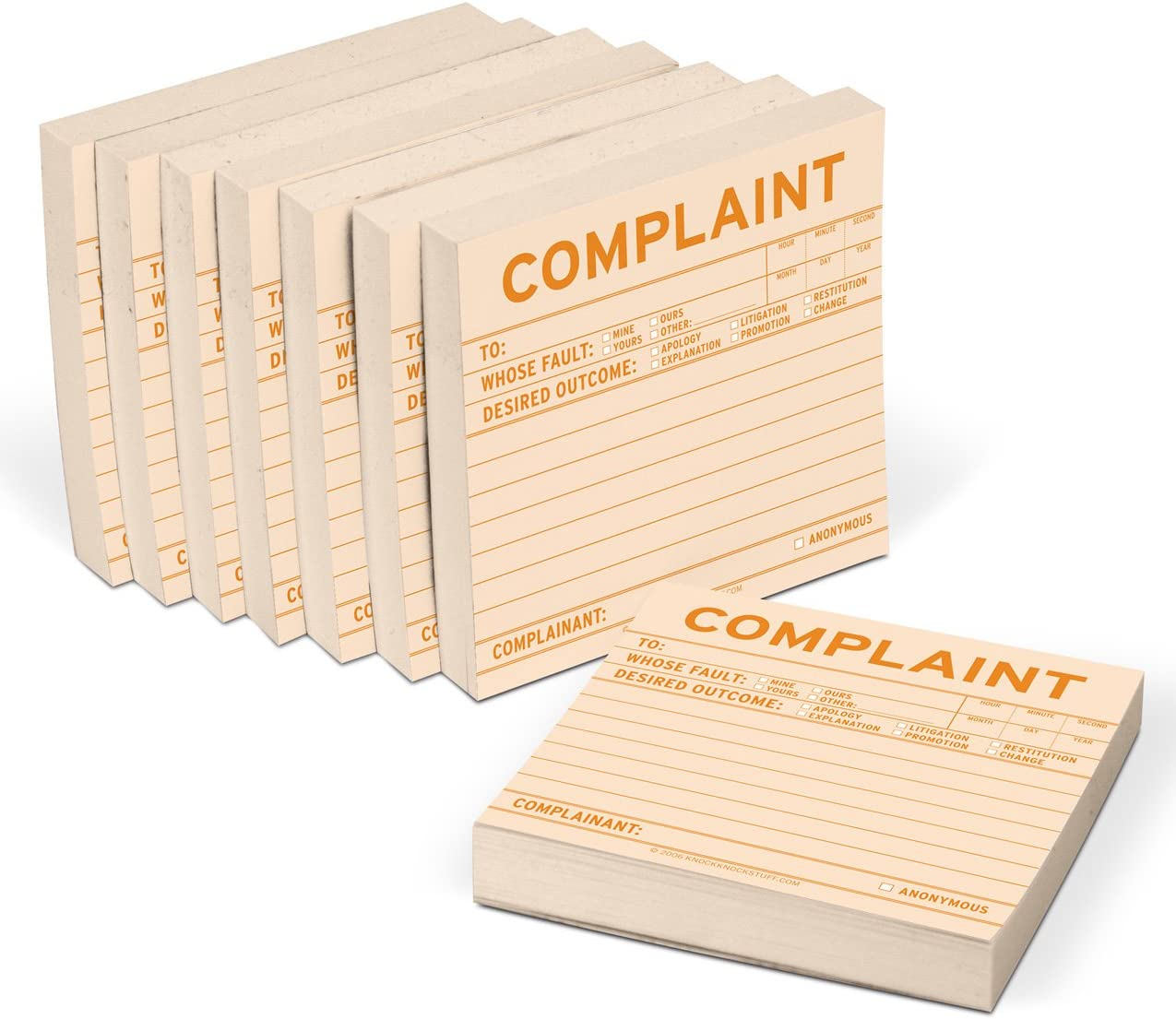 8-Pack Knock Knock Complaint Sticky Notes, Office Memo Sticky Notepads, 3 x 3-inches Each