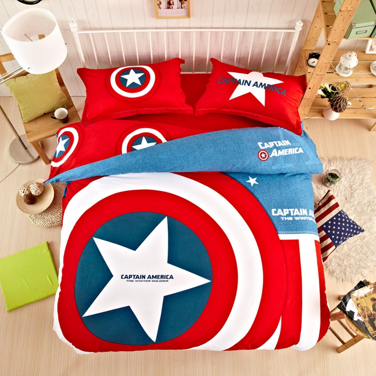 CASA 100% Cotton Kids Bedding Set Boys Captain America Shield Duvet cover and Pillow cases and Flat sheet,4 Pieces,King