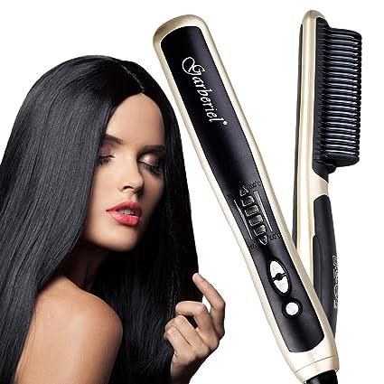 Garberiel - Cepillo alisador de pelo con peine de pelo rizado y ...
