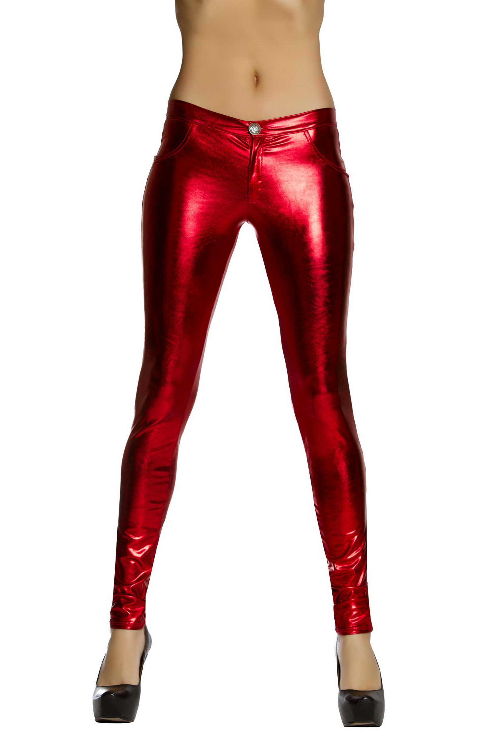 Roma Women's Metallic Button Front Pants with Pocket Detail, Red, Large