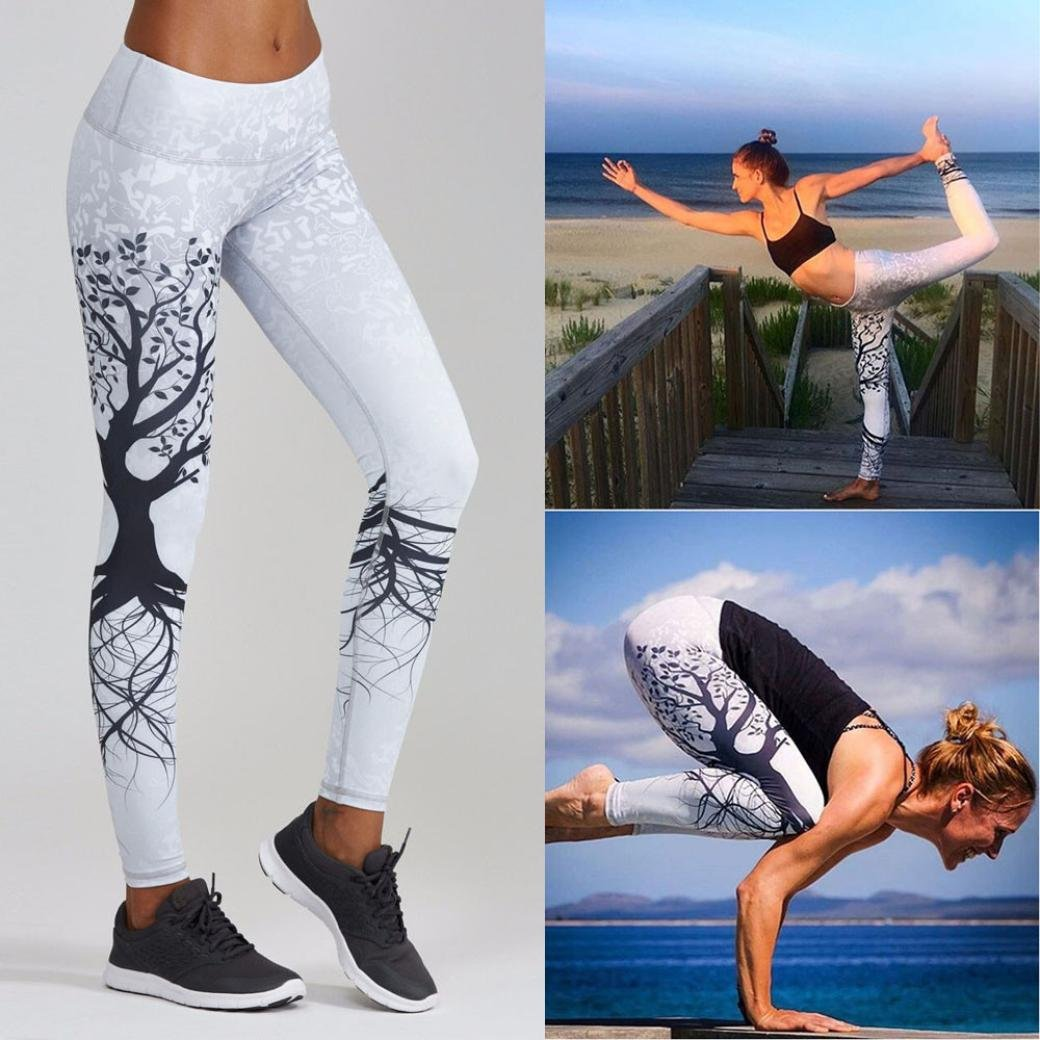 SMARTLADY Mujer Pantalones Largos Deportivos Patrón de árbol Leggings para  Running 8e96604bc35c