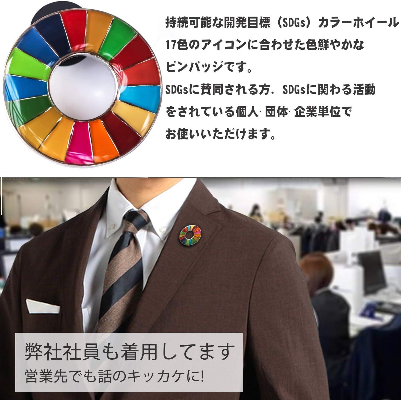 SDGs バッジ(1個) ピンバッチ バッヂ 表面が丸みのあるタイプ 襟章 高級 人 ギフト 日本未発売 正規品 銀色2個