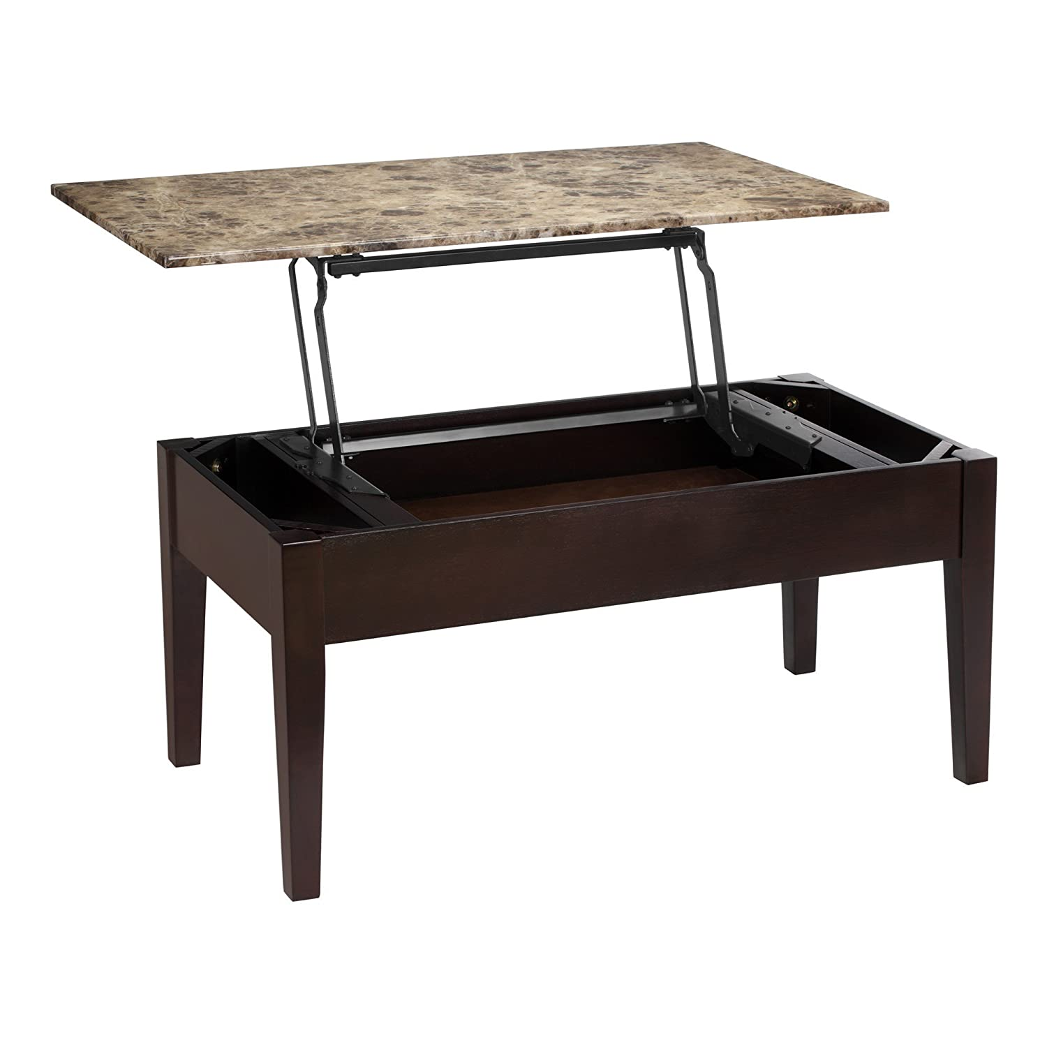 Black and wood coffee table - Amazon Com Dorel Living Faux Marble Lift Top Coffee Table Kitchen Dining