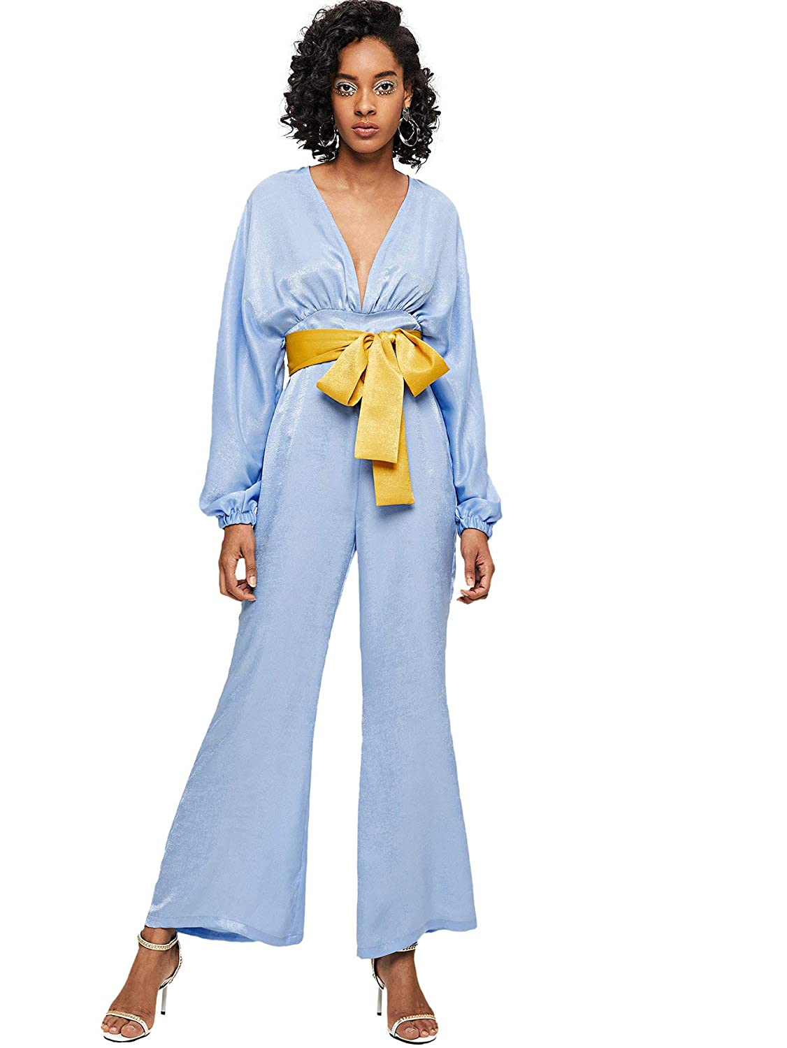 bluee DIDK Women's Wrap and Tie Detail Tailored Jumpsuit